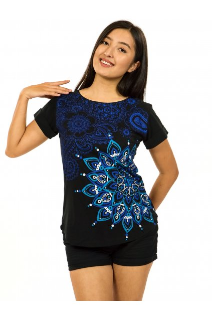 Tričko s krátkým rukávem Zafira - černá s modrou