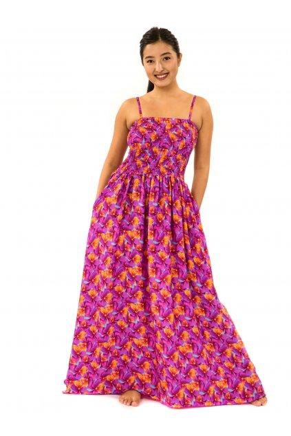 Dlouhé šaty s kapsami Fialka - tyrkysová s růžovou