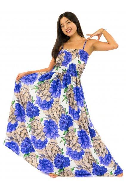 Dlouhé šaty s kapsami Pivoňka - bílá s fialovou
