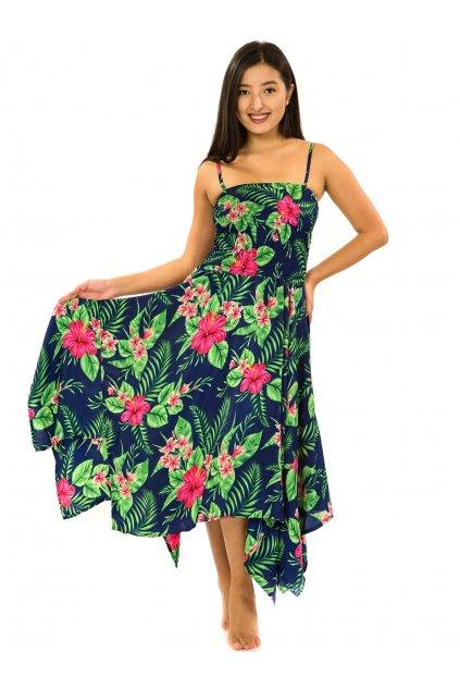 Šaty-sukně 2v1 Dawa Tiana - tmavě modrá se zelenou