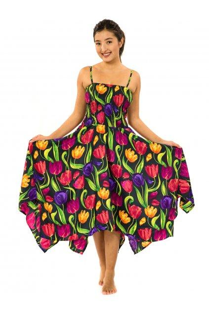 Šaty-sukně 2v1 Dawa Tulipány - černá s barvami
