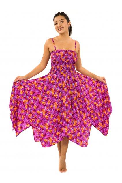 Šaty-sukně 2v1 Dawa Fialka - tyrkysová s růžovou