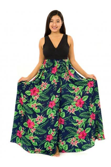 Dlouhé maxi šaty Tiana - tmavě modrá se zelenou