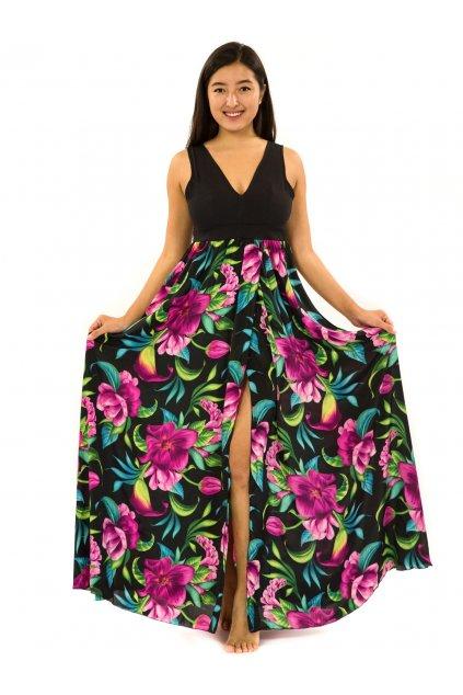 Dlouhé maxi šaty Nara - černá s fialovou