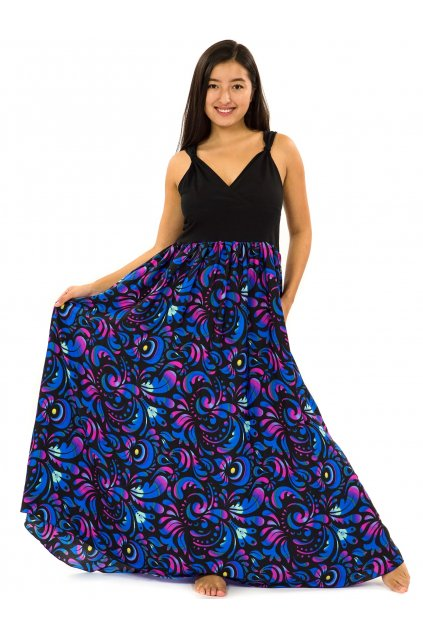 Dlouhé zavinovací šaty Keira - černá s růžovou a modrou