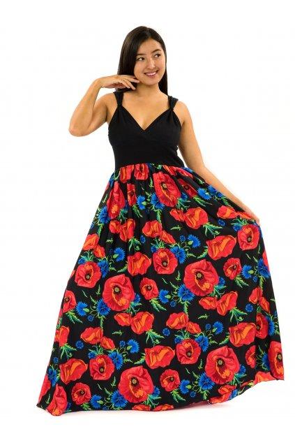 Dlouhé zavinovací šaty Vlčí mák - černá s červenou