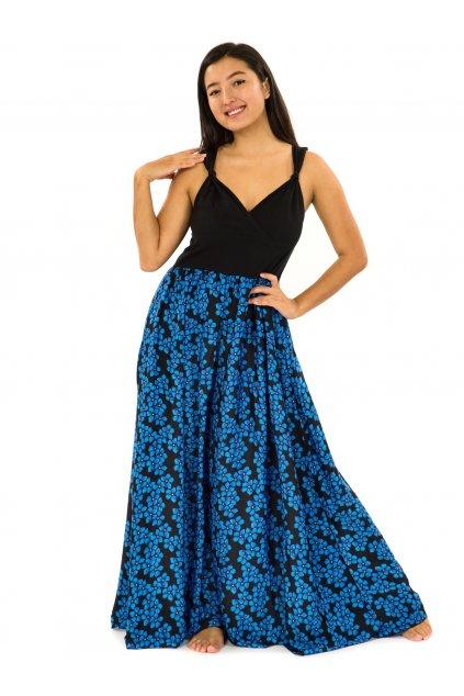 Dlouhé zavinovací šaty Pomněnka - černá s modrou