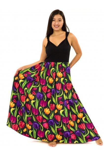 Dlouhé zavinovací šaty Tulipány - černá s barvami