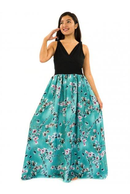 Dlouhé zavinovací šaty Soha - tyrkysová