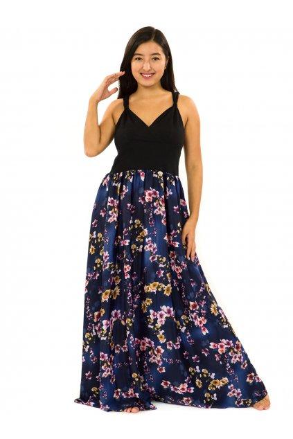Dlouhé zavinovací šaty Soha - tmavě modrá