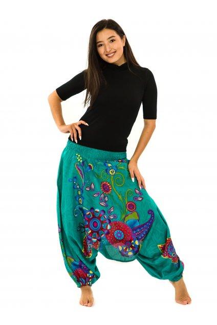 Kalhoty-šaty-top 3v1 Garden of Nepal - tyrkysové