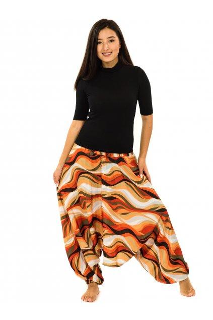 Kalhoty-šaty-top 3v1 Vlny - oranžová s béžovou