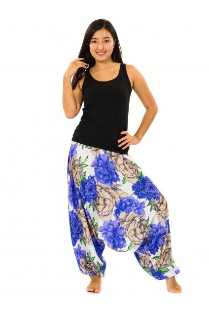 Kalhoty-šaty-top 3v1 Pivoňka - bílá s fialovou