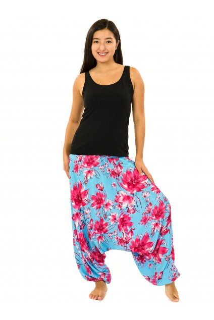 Kalhoty-šaty-top 3v1 Kora - tyrkysová s růžovou