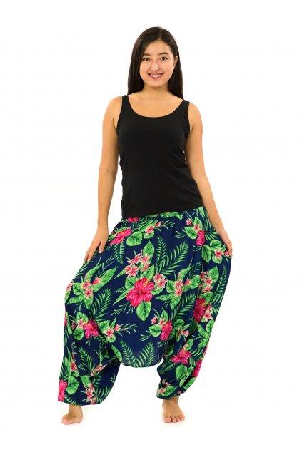 Kalhoty-šaty-top 3v1 Tiana - tmavě modrá se zelenou