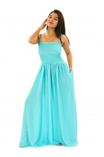 Dlouhé šaty s kapsami Plain - tyrkysové