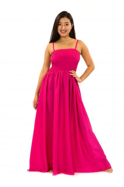 Dlouhé šaty s kapsami Plain - růžové