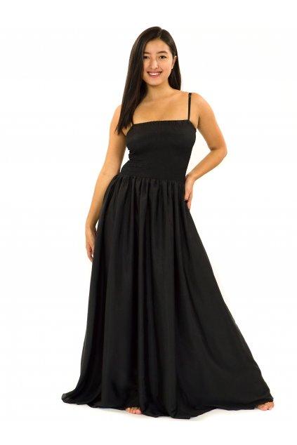 Dlouhé šaty s kapsami Plain - černé
