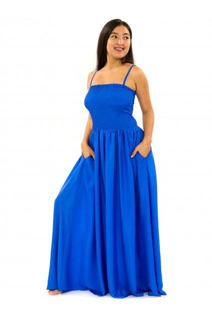 Dlouhé šaty s kapsami Plain - královská modrá