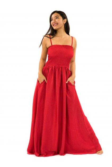 Dlouhé šaty s kapsami Plain - červené