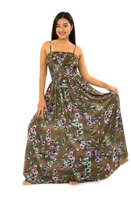 Dlouhé šaty s kapsami Soha - hnědá