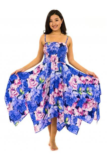 Šaty-sukně 2v1 Dawa Pivoňka - modrá s fialovou a růžovou