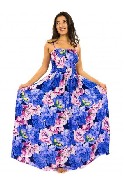Dlouhé šaty s kapsami Pivoňka - modrá s fialovou a růžovou