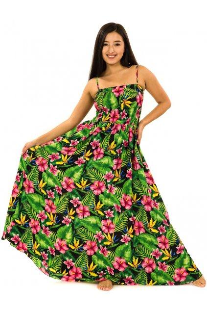 Dlouhé šaty s kapsami Rania - černá s barvami