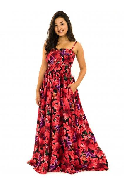Dlouhé šaty s kapsami Lilie - černá s červenou