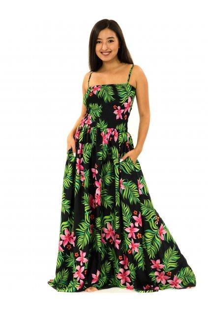 Dlouhé šaty s kapsami Serena - černá s barvami