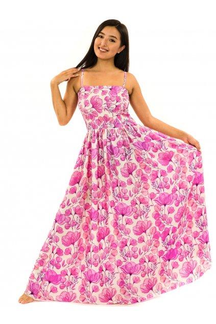 Dlouhé šaty s kapsami Taina - bílá s růžovou