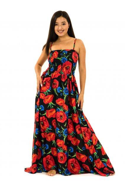 Dlouhé šaty s kapsami Vlčí mák - černá s červenou