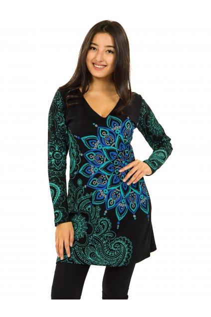Šaty s dlouhým rukávem Angama - černá s tyrkysovou