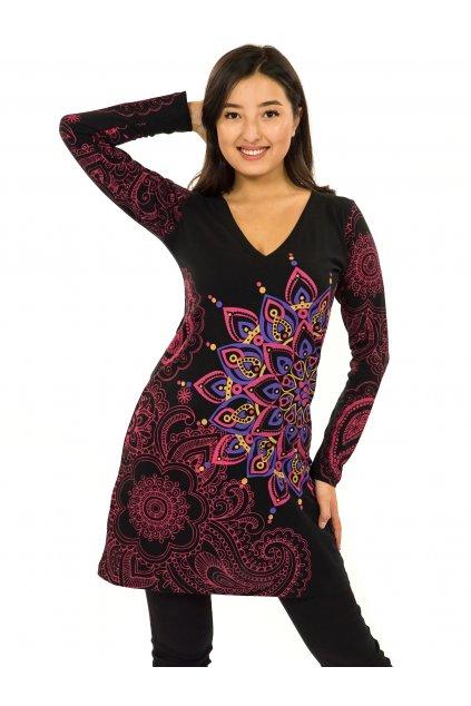 Šaty s dlouhým rukávem Angama - černá s růžovou