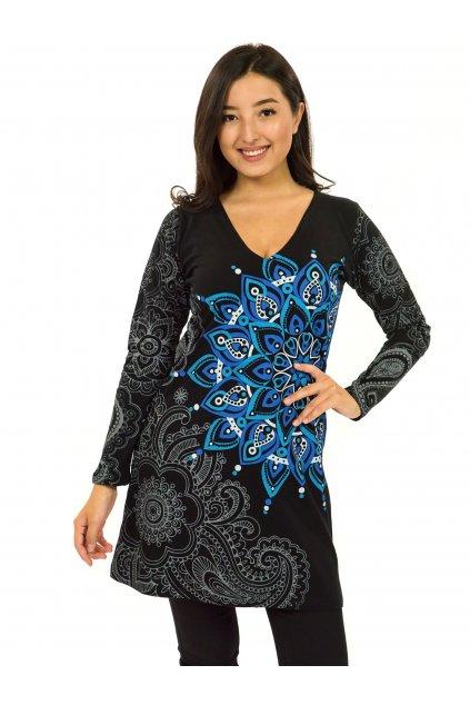 Šaty s dlouhým rukávem Angama - černá s modrou