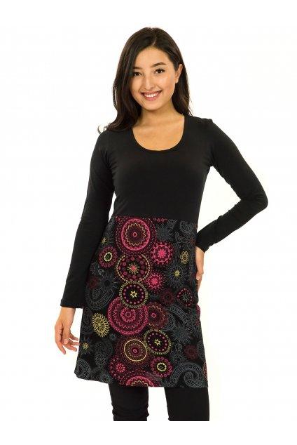 Šaty s dlouhým rukávem Heiva - černá s růžovou