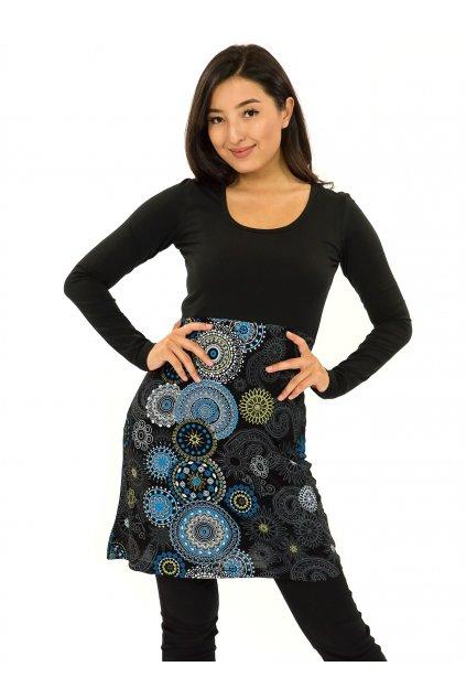 Šaty s dlouhým rukávem Heiva - černá s tyrkysovou