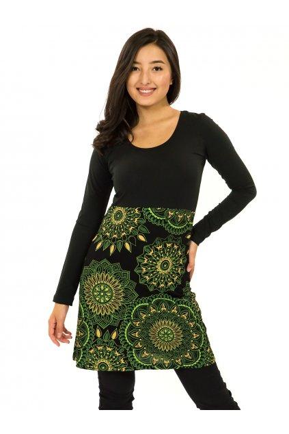 Šaty s dlouhým rukávem Kaika - černá se zelenou