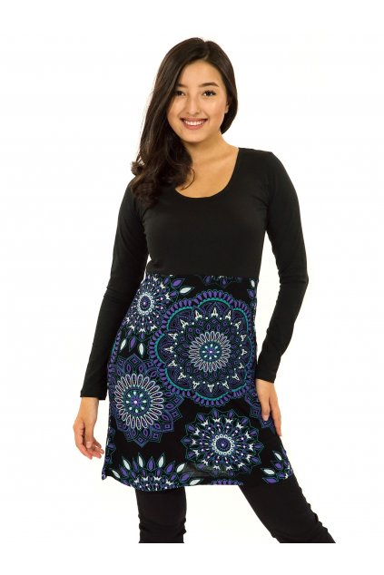 Šaty s dlouhým rukávem Kaika - černá s fialovou