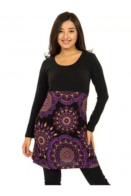 Šaty s dlouhým rukávem Kaika - černá s růžovou a fialovou