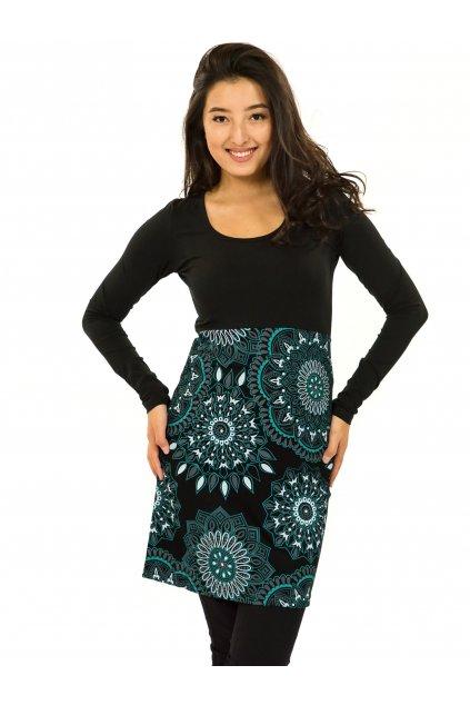 Šaty s dlouhým rukávem Kaika - černá s tyrkysovou