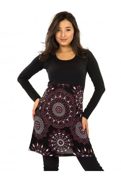 Šaty s dlouhým rukávem Kaika - černá s červenou