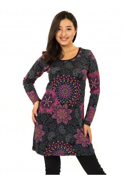 Šaty s dlouhým rukávem Sambora - černá s růžovou