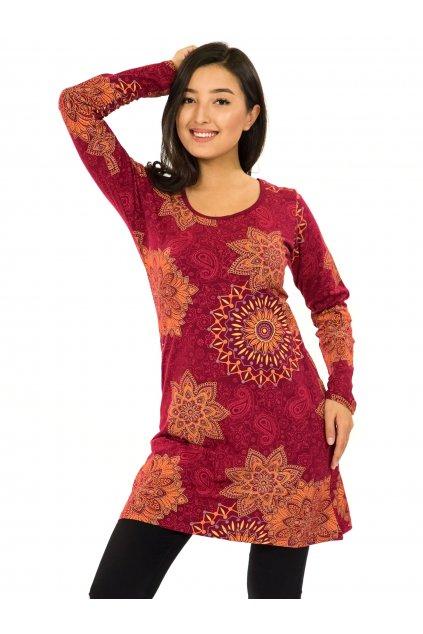 Šaty s dlouhým rukávem Sambora - vínová