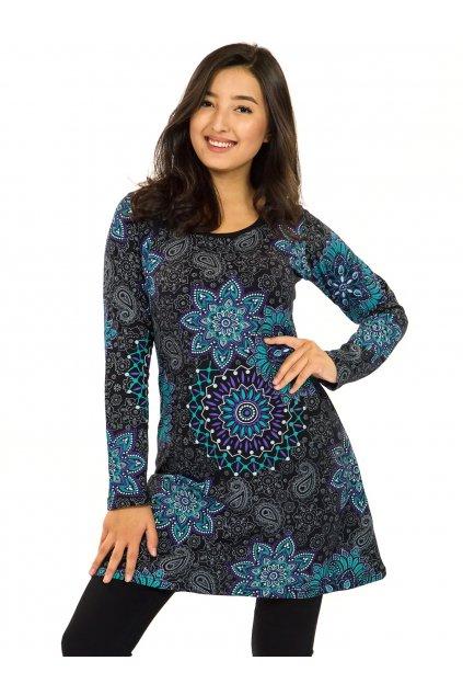 Šaty s dlouhým rukávem Sambora - černá s tyrkysovou a fialovou