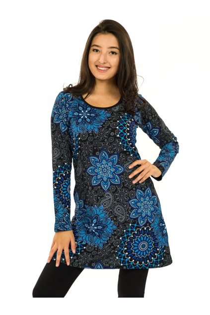 Šaty s dlouhým rukávem Sambora - černá s modrou