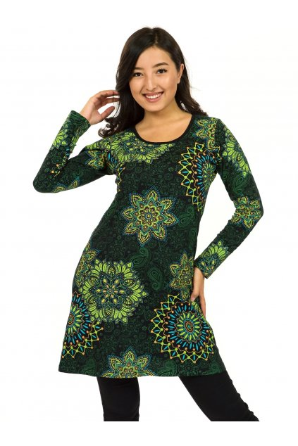 Šaty s dlouhým rukávem Sambora - černá se zelenou
