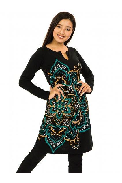 Šaty s dlouhým rukávem Sheela - černá s tyrkysovou a žlutou