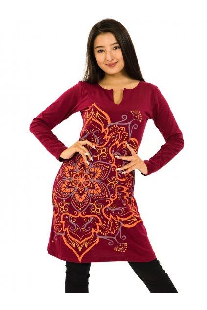 Šaty s dlouhým rukávem Sheela - vínová