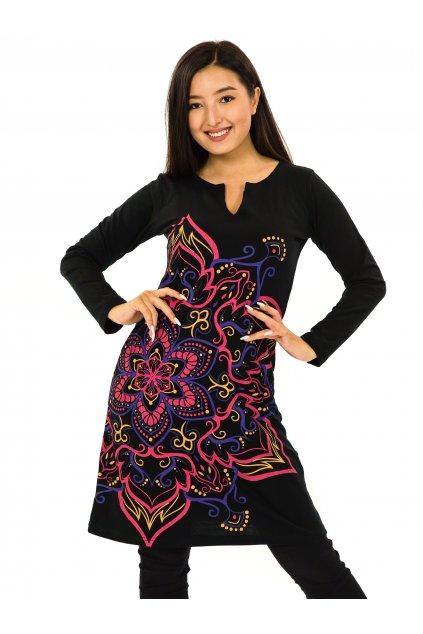 Šaty s dlouhým rukávem Sheela - černá s růžovou